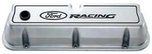 Proform 302 001 Aluminum Valve Covers Sbf Tall Polished Ford Racing Logo