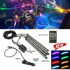 48 Led Light 4 Strips Car Charge Interior Kit Decor Atmosphere Lamp With Remote
