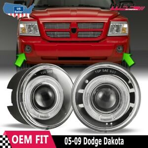 Fit 05 09 Dodge Dakota Factory Replacement Halo Projector Fog Lights Clear Lens