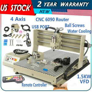 4 Axis 1 5kw Vfd Usb Cnc 6090t Router Engraver Machine Drill Mill 3d Cutter rc