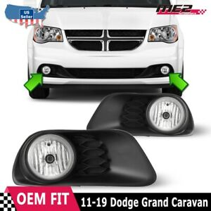 Fits 11 19 Dodge Grand Caravan Clear Lens Pair Fog Light Lamps Wiring Switch Dot