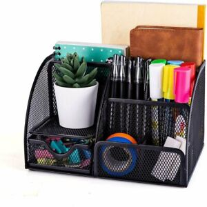 Mesh Office Supplies Desk Organizer 6 Compartments Plus Drawer Black