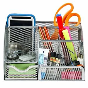 Wire Mesh Desk Organizer 6 Compartment With Additional Drawer Silver