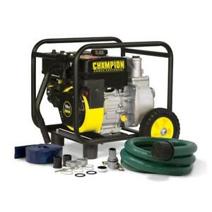 Water Transfer Pump Gas powered Semi trash With Hose And Wheel Kit 2in