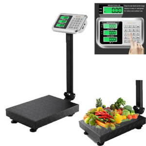 220lbs Weight Computing Digital Scale Non slip Platform Shipping Postal Black