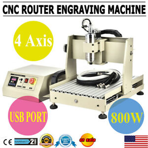 Cnc Router 4 Axis Usb 3040 800w Engraving Mill Engraver Machine Metal Wood Cut
