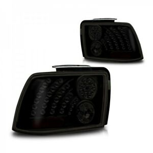 Fits 99 04 Ford Mustang Oe Fit Pair Led Style Tail Lights Rear Lamps Black Smoke