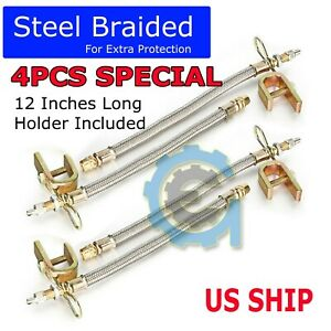 4pcs Truck Rv 12 Braided Stainless Steel Dual Tire Valve Stem Extension Adaptor