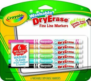 Crayola Washable Dry erase Fine Line Markers 6 Classic Colors Non toxic Arttools