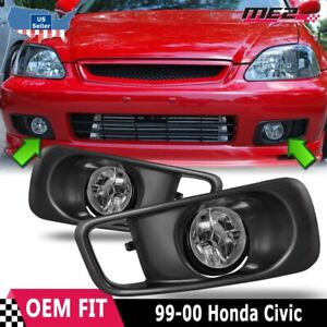 For Honda Civic 99 00 Factory Replacement Fit Fog Lights Wiring Kit Clear Lens