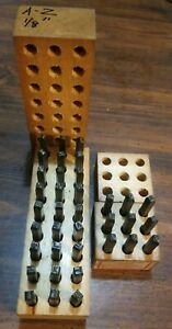 2 Sets Vintage Young Bros Steel Stamp Machine Letters Set W Wooden Boxes
