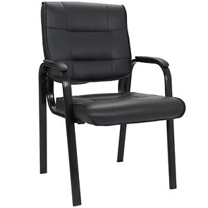 Black Leather Guest Chair Reception Waiting Room Office Desk Side Chairs New