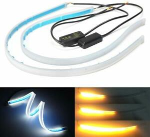 Isincer 30cm Led Slim Strip Light Drl Sequential Side Turn Signal For Headlights