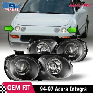 Fits 94 97 Acura Integra Led Halo Rings Projectors Black clear Headlights Pair