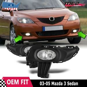 For Mazda 3 03 05 Factory Replacement Fit Fog Lights Wiring Kit Clear Lens