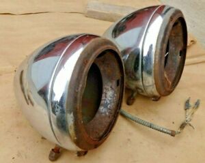 1934 Chevy Master Headlights Original Gm Pair Sealed Beam Conversion