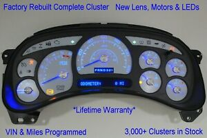 8a 03 04 2003 04 Rebuilt Custom White Complete Replacement Blue Led Gas Cluster
