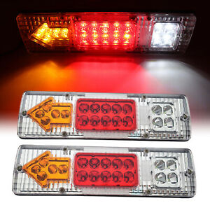Pair 19 Led Tail Light Car Truck Trailer Stop Rear Reverse Turn Indicator Lamp