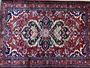 5x7 Wool Antique Rug Hand Knotted Red Vintage Oriental Handmade Carpet Pink 4x7