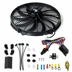 Black 16 Electric Radiator Fan High 3000 Cfm Thermostat Wiring Switch Relay Kit
