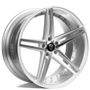 4 22 Staggered Marquee Wheels 5334 Silver Machined Rims b7
