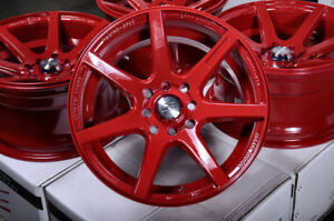 15x8 Wheels Rims Concave Red 4 Lugs Fit Accord Civic Prelude Corolla Volvo V40