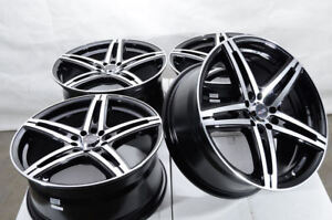 17 Wheels Honda Accord Civic Toyota Matrix Corolla Camry Jetta Black Rims 5 Lug