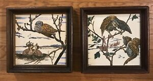 Pair Antique 19c Brown Westhead Moore Tiles Hand Painted Framed Rare