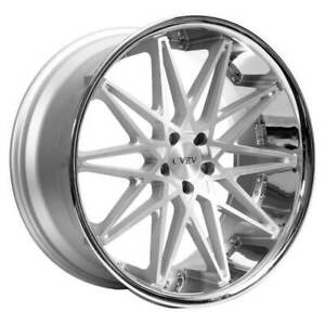 4 22 Staggered Azad Wheels Az41 Silver Machined With Chrome Lip Rims b1
