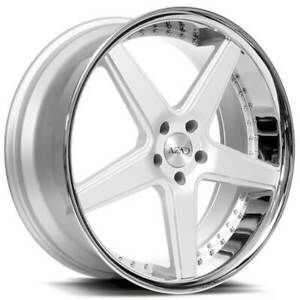 4 22 Staggered Azad Wheels Az008 Silver Brushed With Chrome Lip Rims b1