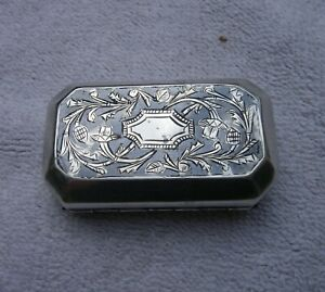 Early Niello Engraved Silver Snuff Box Eastern European Asian Unmarked Nr