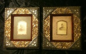 2 Antique American Primitive Gold And Silver Wood W Red Velvet Boarder Frames