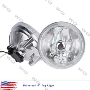 Universal 4 Round Chrome Housing Clear Lens Fog Light Lamps Switch Relay Bulbs