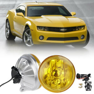 Universal 4 Round Chrome Housing Yellow Lens Fog Light Lamps Switch Relay Bulbs