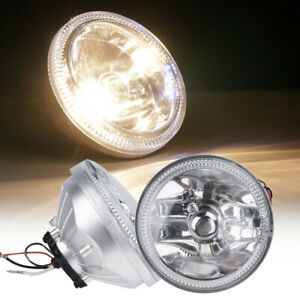 Universal 4 Round Chrome Housing Led Clear Lens Fog Light Lamps With Switch