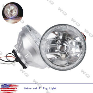 Universal 4 Round White Halo Chrome Housing Clear Lens Fog Driving Lights Lamps