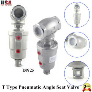 T Type Dn25 Pneumatic Angle Seat Valve Air Actuated Angle Valve Switch Valve