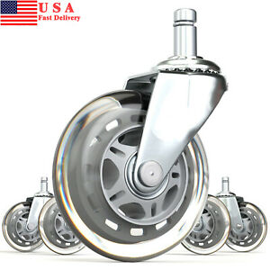 Set Of 5 Office Chair Caster 3 inch Pu Swivel Wheels Replacement Heavy Duty