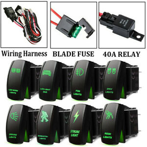 Green Led Work Light Bar Toggle Rocker Switch 40a Relay Wiring Harness Kit 12v