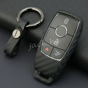 Carbon Fiber Key Fob Chain Case For Mercedes V167 W177 W205 W213 W222 C257 X253