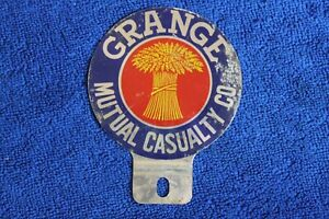 Vintage Grange Mutual Bumper License Plate Topper Accessory Grille Badge Gm Ford