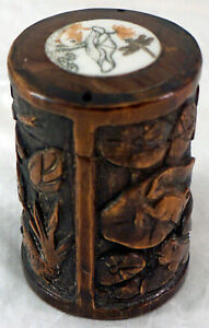 Large Carved Wooden Inro Box Fish Dragonfly And Frogs Lily Pads