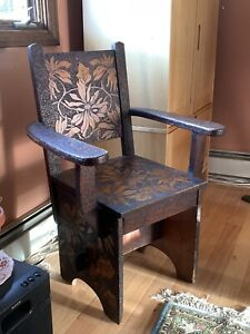 Folky Circa 1920 Arts Crafts Style Chair With Pyrography Decoration