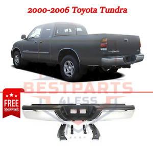 Rear Step Bumper Complete Assembly For 2000 2006 Toyota Tundra Chrome Steel
