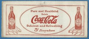 ANTIQUE 1913 COCA COLA INK BLOTTER PURE AND HEALTHFUL DELICIOUS