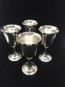 4 International Sterling Silver Water Wine Goblets Lord Saybrook P664