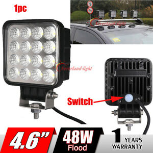 1x 4 6 48w Flood Led Work Light For Offroad Truck Jeep Boat With Switch Square