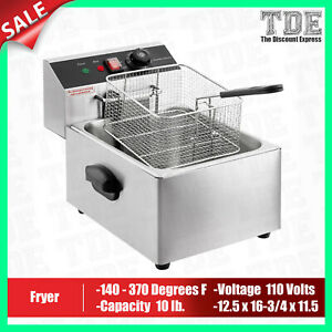 Deep Fryer Commercial Countertop Electric Fryer 1 Basket 110v 1600w 10lb New