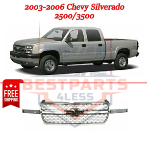 Honeycomb Grille For 03 06 Chevy Silverado 2500 3500 Chrome Shell painted Gray