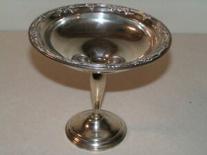Sterling Silver Pedestal Compote In The Wild Rose Pattern 280 Gram Weighted